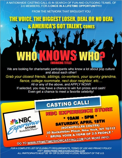 "Casting Call For New Game Show ""Who Knows Who?"""